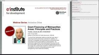 Grant Financing of Metropolitan Areas: Principles and Practices