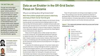 Data as an Enabler in the Off-Grid Sector: Focus on Tanzania